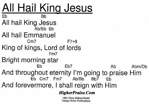 All Hail King Jesus Chords by Tempo Music @ HigherPraise.com
