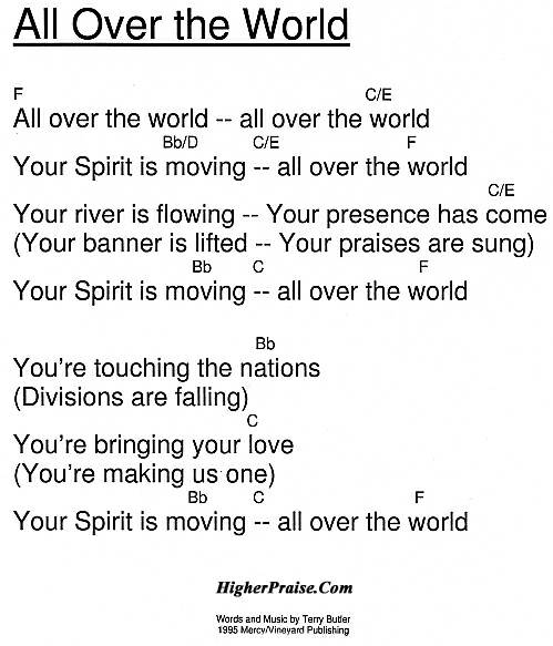 All Over The World Chords by Vineyard @ HigherPraise.com