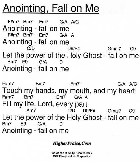 Anointing Fall On Me Chords By Donn Thomas Higherpraise