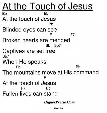 At The Touch Of Jesus Chords by Unlisted @ HigherPraise com