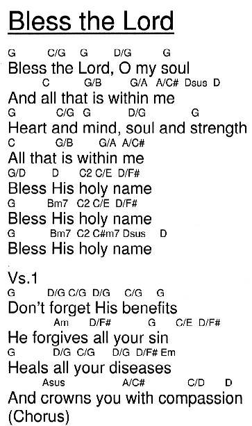 Bless The Lord Chords by Integrity\'s Hosanna @ HigherPraise.com