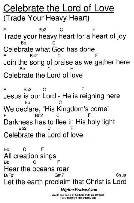 Celebrate The Lord Of Love Chords By Integritys Hosanna