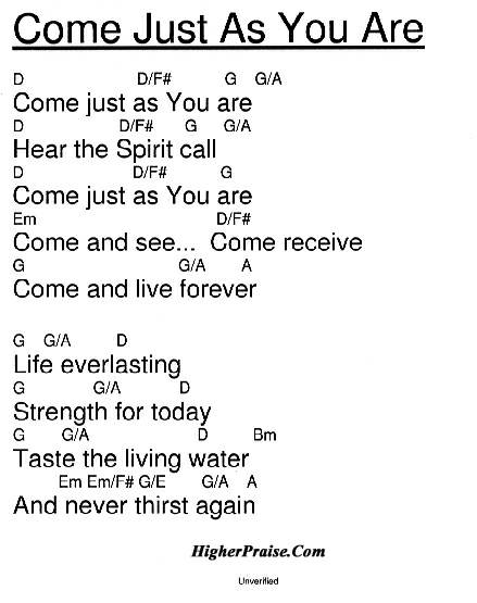 Come Just As You Are (KeyD) Chords by Maranatha Praise ...