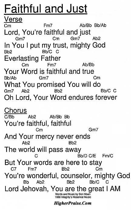 Faithful And Just Chords by Integrity\'s Hosanna @ HigherPraise.com