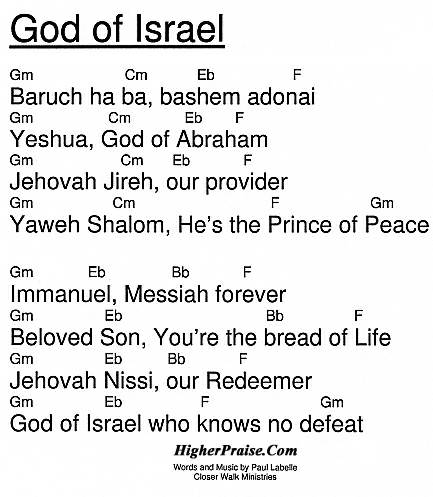 God Of Israel Chords by Paul Labelle @ HigherPraise com