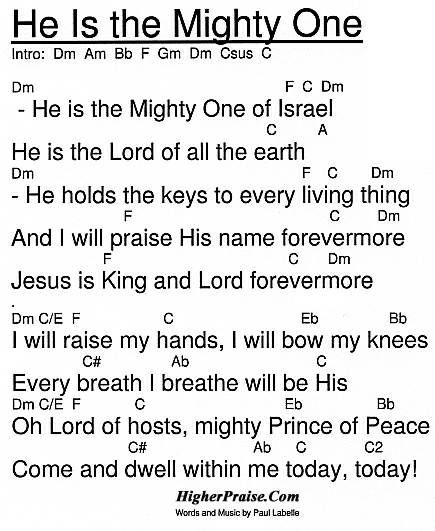He Is The Mighty One Chords By Paul Labelle Higherpraise