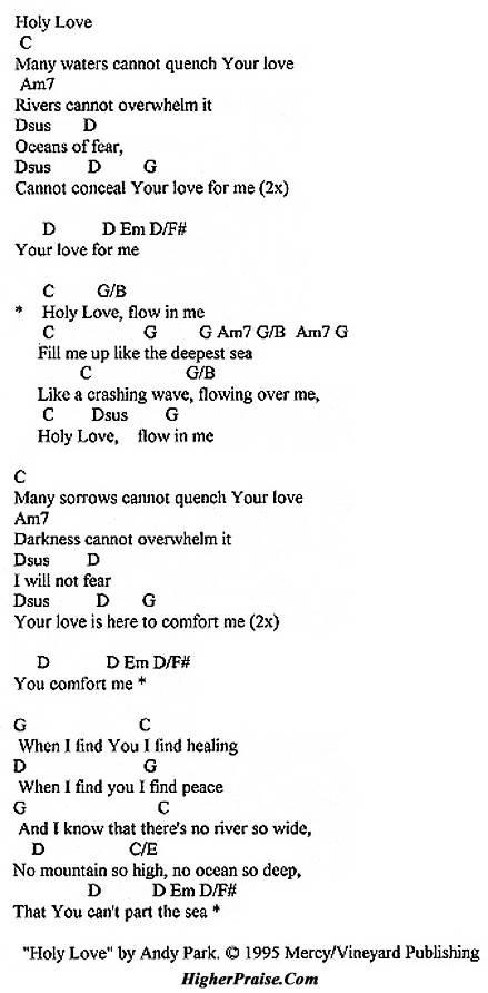 Holy Love (KeyC) Chords by Vineyard @ HigherPraise.com