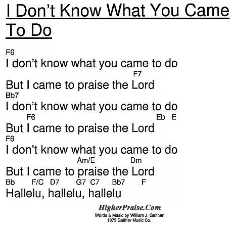 I Don\'t Know what You Came to Do Chords by Bill Gaither ...