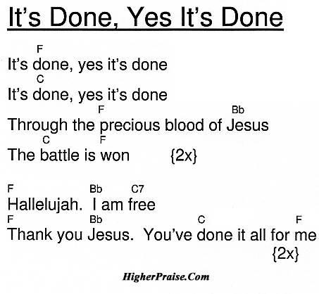 Its Done Yes Its Done Chords By Unlisted Higherpraise