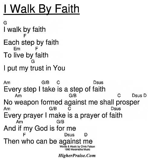 I Walk By Faith (KeyG) Chords by Maranatha Praise @ HigherPraise.com