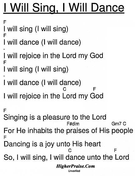 I Will Sing, I Will Dance Chords by Unlisted @ HigherPraise.com