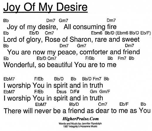 Joy Of My Desire Chords by Integrity\'s Hosanna @ HigherPraise.com