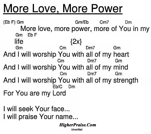More Love, More Power Chords by Unlisted @ HigherPraise.com