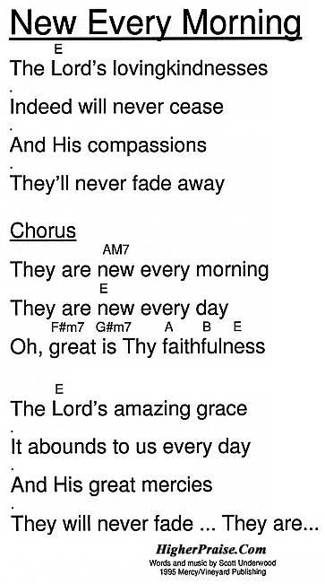 New Every Morning Chords by Vineyard @ HigherPraise.com