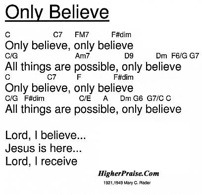 Only Believe Chords By Mary C Rader Higherpraise