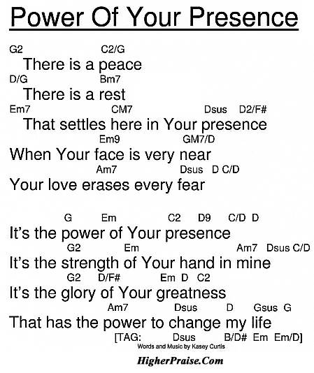 Power Of Your Presence Chords By Kasey Curtis Higherpraise
