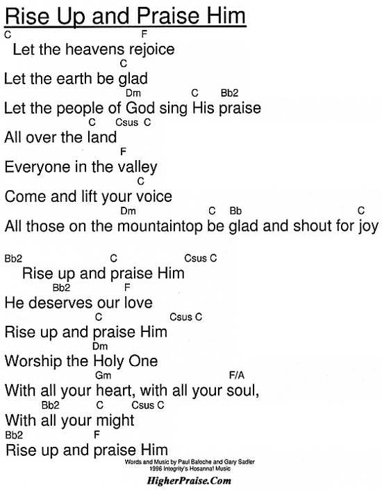 Rise Up And Praise Him Chords by Hosanna @ HigherPraise.com
