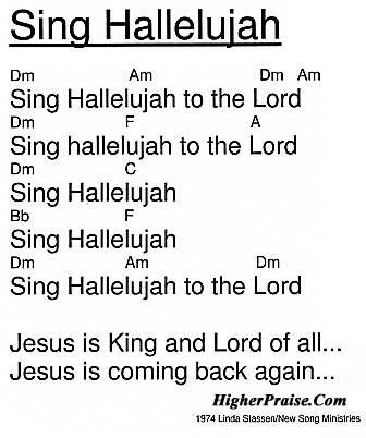 Sing Hallelujah Chords By Linda Slassen 1974 Higherpraise