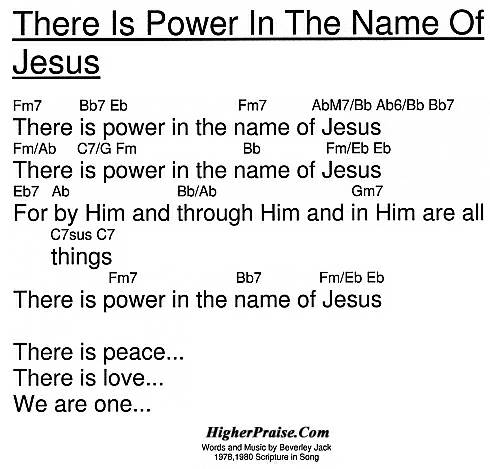 There Is Power In The Name Of Jesus Chords By Beverley Jack