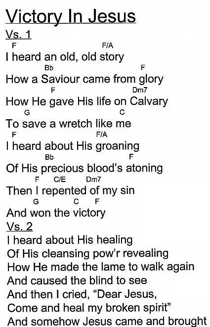 Victory In Jesus Chords by Unlisted @ HigherPraise.com