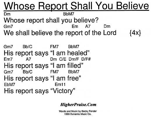 Whose Report Shall You Believe Chords By Fender Higherpraise