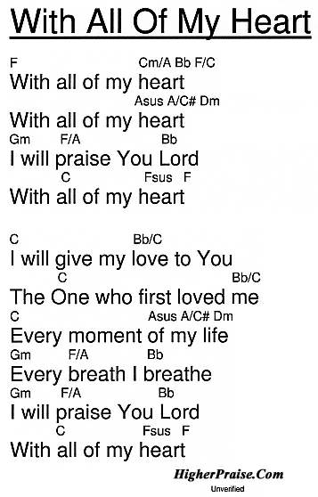 With All Of My Heart Chords By Unlisted Higherpraise