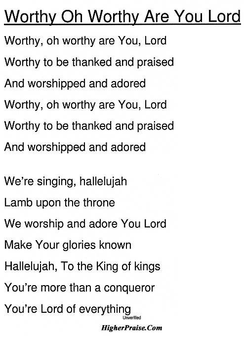 Worthy Oh Worthy Are You Lord Chords by Unlisted @ HigherPraise.com