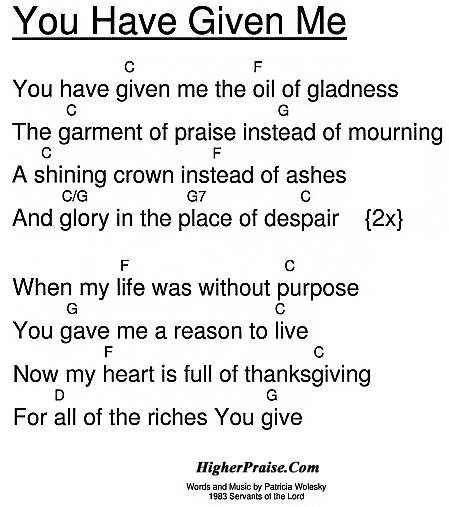 You Have Given Me Chords by Patricia Wolesky @ HigherPraise.com